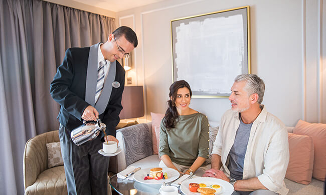 crystal cruises - on board accommodations - room service